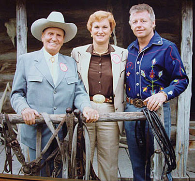 Gene and Jackie Autry with Johnny Western who toured with The Cowboy during Gene's last year of touring.