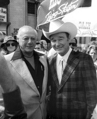 Bob Nolan and Roy Rogers attending a function for KLAC, Los Angeles radio.