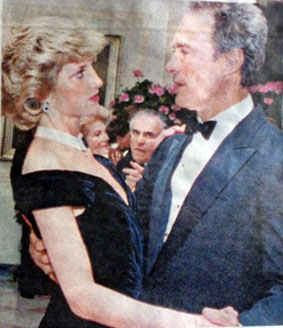 Clint Eastwood shares a dance in 1985 with England's late Princess Diana. (Thanx to Terry Cutts.)