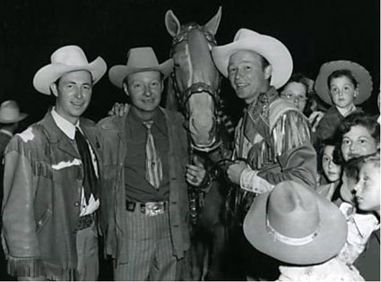 Eddie Dean, Pat Brady, Roy Rogers and Trigger circa mid '50s. (Thanx to Jerry Whittington.)