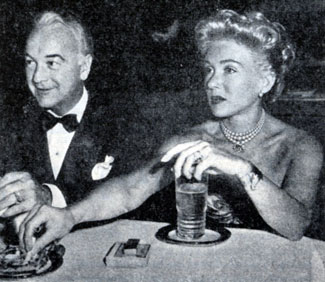 "William ""Hopalong Cassidy"" Boyd and wife Grace Bradley celebrate a dinner out at Ciro's in 1949."