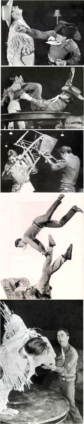 "For their 1953 rodeo appearances, Jock Mahoney as the ""Range Rider"" and Dick Jones as Dick West staged a 10 minute ""movie fight"" during which they slugged it out with fists and splintering chairs."