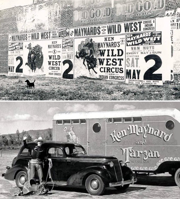 Ken Maynard and his Wild West Circus appeared May 2, 1936, at the L.A. showgrounds located at Van Nuys Blvd. and Plummer St. (Thanx to Jerry Whittington.)
