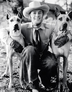 Randolph Scott with his two Great Danes in 1933.