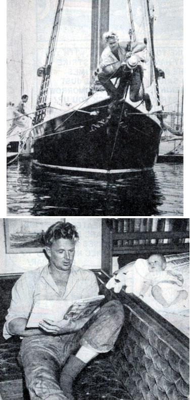 Sterling Hayden aboard his 50 foot schooner in 1949. Seen with his son Christian (nickname Windy) aboard the schooner.
