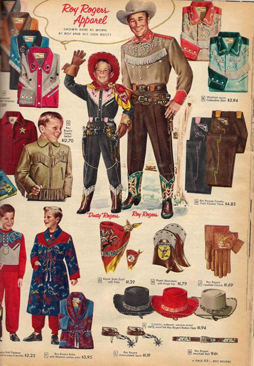 Roy Rogers and Dale Evans clothing items from the 1955 Sears Christmas catalog.