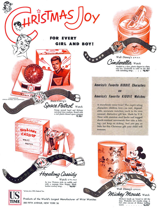 SATURDAY EVENING POST ad from 1953 shows Space Patrol, Hopalong Cassidy, Mickey Mouse and Cinderella watches.