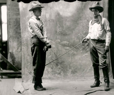 Ed Cobb (right) and Slim Freeman in costume for a Rio Grande Motion Picture Company film in Albuquerque, NM, circa 1914.