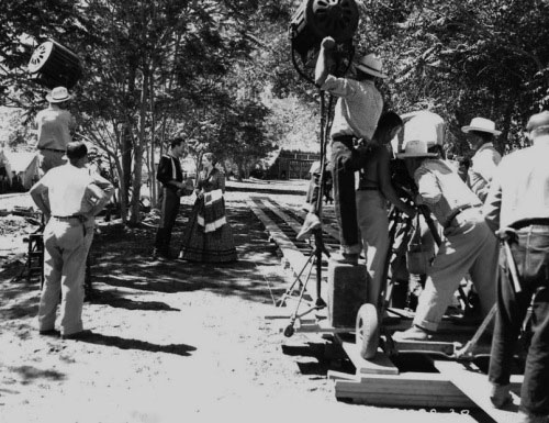 "Production shot of John Wayne and Maureen O'Hara filming ""Rio Grande"" in 1950. (Thanx to Jerry Whittington.)"