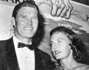 """The Rifleman"" Chuck Connors with wife Elizabeth ""Betty"" Riddell in late 1958. Married from October 1, 1948 until their divorce in 1961."