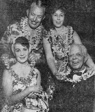 Mr. and Mrs. Madison (at the top) welcome Hoot Gibson and wife Dorothy to a Hawaiian Luau, Las Vegas, NV, style, in July 1962. Hoot was married to Dorothy from July 3, 1942 until his death on August 23, 1962.