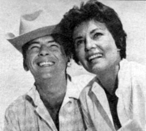 "Bart ""Maverick"" Jack Kelly with his wife Donna in late 1958. She's also known as actress May Wynn. They were married October 14, 1956 but divorced October 19, 1964."