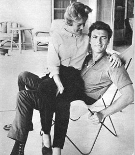 "Rowdy Yates of ""Rawhide""...Clint Eastwood in 1961 with his then wife Margaret Johnson."