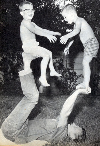 "Star of ""Outlaws"", Don Collier, has a little backyard fun with his son Don Jr., 6, and stepson Dave, also 6. Don Jr. is Collier's son by his wife Pamela and Dave is the son of his then wife Joanne. This photo from 1961."