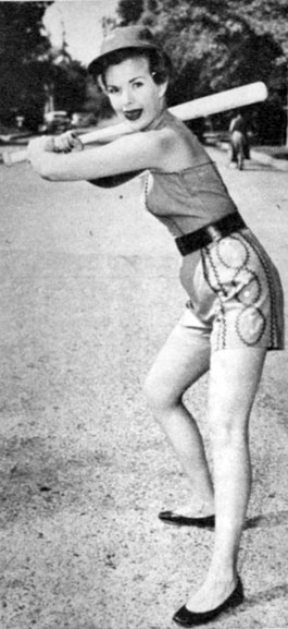 "Speaking of athletes, ""My Little Margie"", Gale Storm is up to bat. Gale was a leading lady to western stars Roy Rogers, Audie Murphy and Rod Cameron."