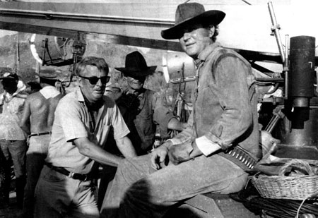 "On location in hot Old Tucson, AZ, are director William Claxton and Don Collier, ranch foreman Sam Butler on ""High Chaparral"". (Courtesy ""High Chaparral"" website.)"