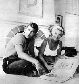 "Eugene Orwitz...aka Michael Landon of ""Bonanza"" at home with his wife Dodie Frasier in '61."