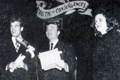 "A date with Guy Madison was Erlene Slater's 'consequence' on ""Truth or Consequences"" emceed by Ralph Edwards in 1947."