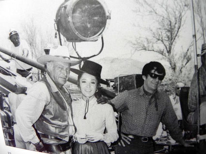 "Leif Erickson, Linda Cristol and Henry Darrow on the set of ""High Chaparral"". (Courtesy the High Chaparral website.)"