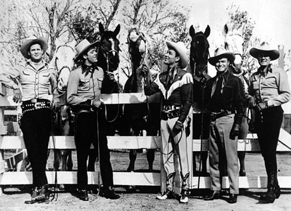 "Sunset Carson, Allan Lane, Roy Rogers, Don Barry, Bob Livingston while making ""Bells of Rosarita"" ('45 Republic). (Thanx to Jerry Whittington.)"