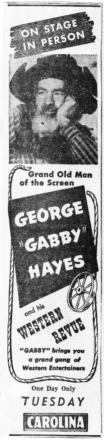 Gabby Hayes- May 21, 1948. (Thanx to Billy Holcomb.)