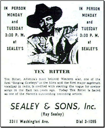 Tex Ritter- Newport News, Virginia. (Thanx to Bill Sasser.)