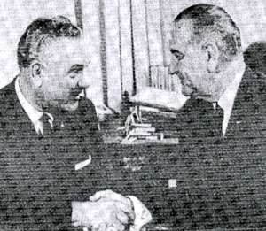 Reb Russell shakes hands with President Lyndon Johnson. Reb ran unsuccessfully in 1964 for Congress as a Democrat from Kansas. Reb was a successful rancher near Coffeyville, KS. (Thanx to John Brooker.)