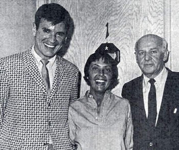 "Will ""Sugarfoot"" Hutchins, singer Keeley Smith and columnist Walter Winchell. Circa early '60s."