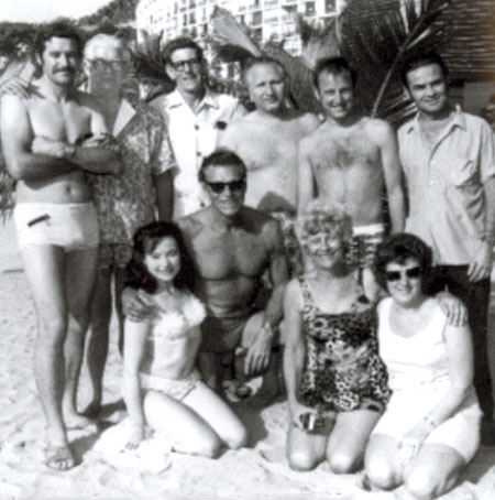 Cascade Industries Inc. dealer convention group photo in Puerto Vallarta, Mexico in November 1969. Buster Crabbe was listed as V.P. Sales, U.S.A.