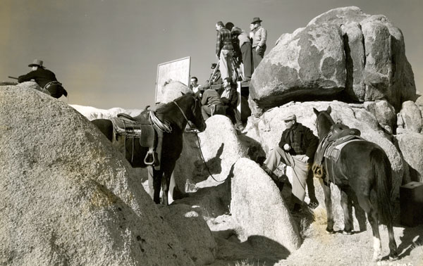 "The RKO camera crew sets up a shot with badman Harry Woods (left) in the Alabama Hills of Lone Pine, CA, for ""Sunset Pass"" ('46) starring James Warren."