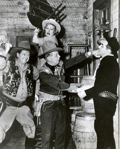 "Hoot Gibson delivers a punch to Jim Backus as Joan Davis and Wally Brown come at Hoot from behind on Joan's popular ""I Married Joan"" sitcom ('52-'55)."