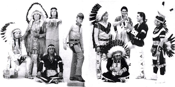 "A compliment of Indian actors with Nick Adams (""The Rebel""). (L-R) Iron Eyes Cody, Chief Yowlachie, Connie Buck, Rodd Redwing, Adams, John War Eagle, Shooting Star, Dawn and Eddie Little Sky, Foster Hood."