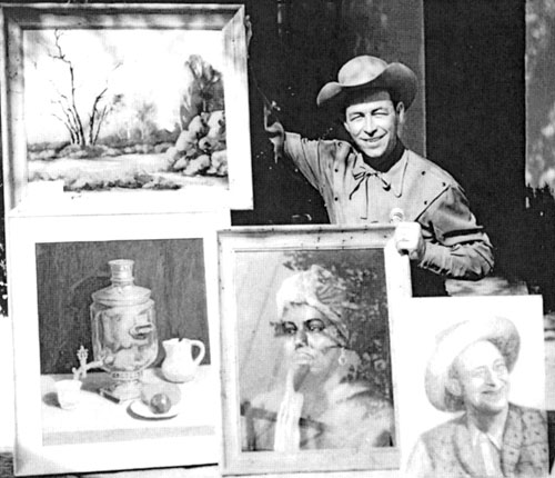 Eddie Dean displays some samples of his paintings. The one in the bottom right corner is of Eddie's screen sidekick Roscoe Ates. This photo comes from Stephen Fratallone's new 464 page bio EDDIE DEAN, THE GOLDEN COWBOY, published by Bear Manor Media and available from Bear Manor or Amazon.com. Over 200 photos.