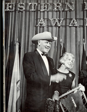 Joel and Frances Dee McCrea during Joel's induction to the Hall of Great Western Performers in Oklahoma City in 1969.