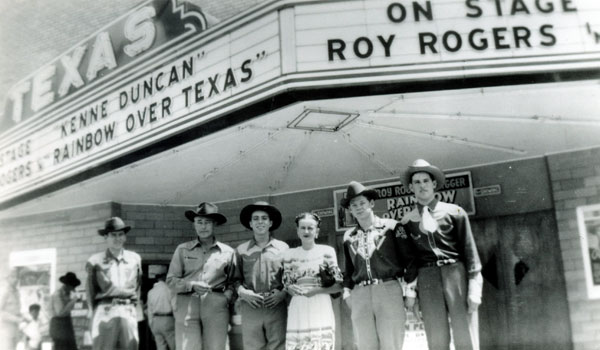 (L-R) Billy Russell, Kenne Duncan, Dale Berry, Fran Russell, Danny Warren, Don Clay for a personal appearance at the Texas Theatre in Texas City in April 15, 1947. According to Kenne's notes on the back of the photo, the group left that night for Houston and the next day, April 16, a ship (the French registered S. S. Grandcamp docked in port) exploded in the channel destroying the entire city of Texas City. The explosion caused gasoline refineries to explode which was highly volatile and leveled the entire city including the Texas Theatre. 581 people were killed. (Thanx for the photo to Jan Garfield.)