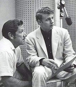 "Richard Boone and Johnny Western at Johnny's recording session for the ""Have Gun Will Travel"" themesong."