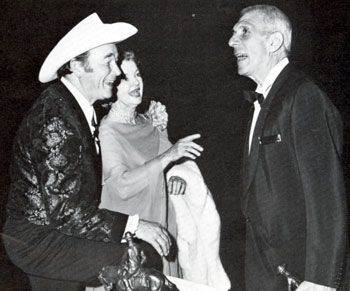 "Hall of Great Western Performers inductees Roy Rogers and Dale Evans greet Richard Brooks, director of the Wrangler Award winning film ""Bite the Bullet"" in 1976 at the Cowboy Hall of Fame in Oklahoma City."