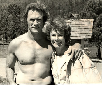 "Clint Eastwood with location casting director Helen Conklin for ""Any Which Way You Can""."