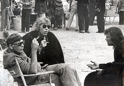 "Director Sam Peckinpah with James Coburn and Kris Kristofferson on the set of ""Pat Garrett and Billy the Kid"" ('73). (Thanx to Pat Shields.)"