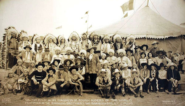 Tim McCoy with his Congress of Rough Riders of the World featured with Ringling Brothers and Barnum and Bailey Circus.
