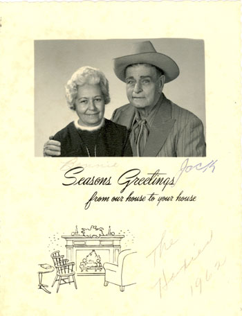 A 1962 Christmas card sent to George Virgines from and signed by Bonnie and Jack Hoxie.
