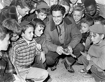 Bob Steele with a group of fans at the Midtown Theater in Oak Ridge, TN, on March 14, 1948. (Thanx to Bobby Copeland who was there.)