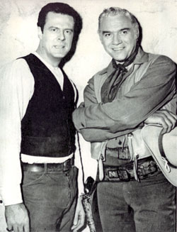 "Robert Culp of CBS' ""Trackdown"" visits Lorne Greene of NBC's ""Bonanza""."