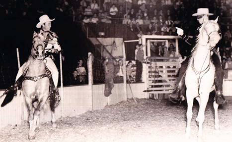 A two for one Western rodeo in the early'40s with Roy Rogers and Brace Beemer as the Lone Ranger. (Thanx to Bobby Copeland.)