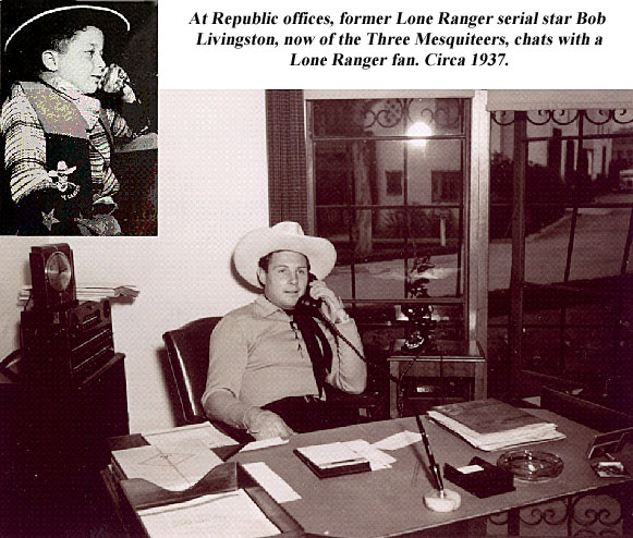 At Republic offices, former Lone Ranger serial star Bob Livingston, now of the Three Mesquiteers, chats with a Lone Ranger fan. Circa 1937.