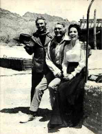 "Enjoying the day on the ""High Chaparral"" set at Old Tucson—Cameron Mitchell, Leif Erikson and Linda Cristal. (Thanx to Marianne Rittner-Holmes.)"