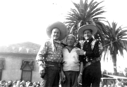 Leo Carrillo (Pancho), actor Vince Barnett and Duncan Renaldo (The Cisco Kid) at St. Catherine's Military Academy, Anaheim, CA, in 1954. (Thanx to Vince Guerriero.)