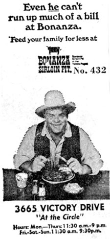 Dan Blocker endorsement for Bonanza Sirloin Pit in Columbus, GA, in the '60s.