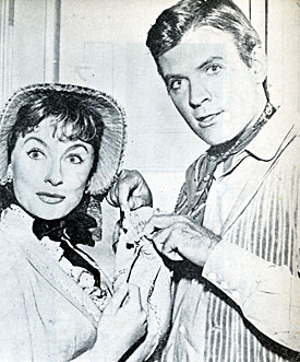 "Will Hutchins and Annelle Stevens during a lighter moment in between scenes of ""Sugarfoot: Toothy Thompson"", Annelle's only credit."
