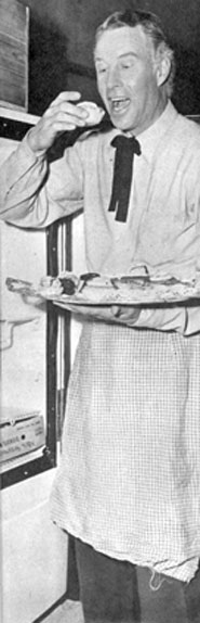 Restauranteur Arthur J. Simms, who formerly ran the commissary at MGM, opened a Hollywood restaurant in '48. Many celebrities donned a chef's regalia and entered a cooking contest to open the restaurant. Here Bill Elliott has just whipped up some fancy pastries. Simms went on to open several restaurants in the L.A. area.